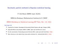 Stochastic particle methods in Bayesian statistical learning - Mistis