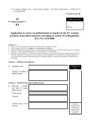 Application to renew an authorization to market in the EU organic ...