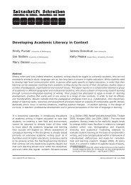 Developing Academic Literacy in Context - Zeitschrift Schreiben