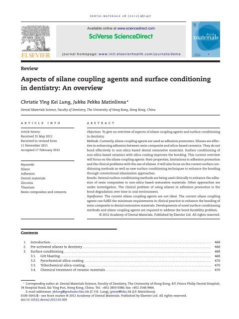 Aspects of silane coupling agents and surface conditioning