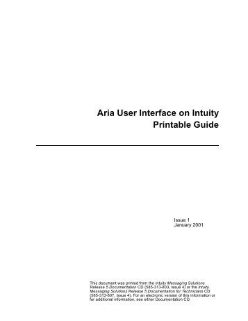 Aria User Interface on Intuity Printable Guide - Avaya Support