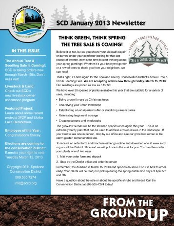 SCD January 2013 Newsletter - Spokane County Conservation District