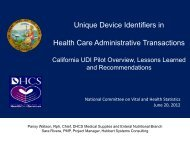 UDI - National Committee on Vital and Health Statistics