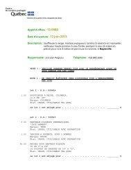 Appel d'offres : 13-0080 Date d'ouverture - Disposition des biens