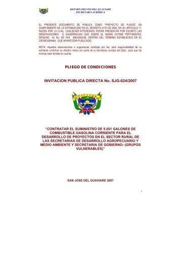 PLIEGO DE CONDICIONES INVITACION PUBLICA DIRECTA No ...