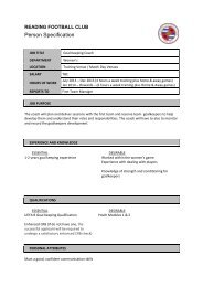 Click here to download the person specification. - Reading FC