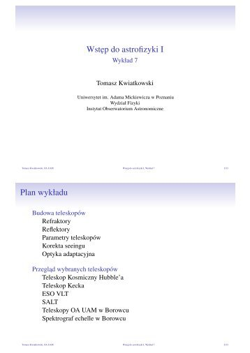 Wstep do astrofizyki I - Wykład 7 - Uniwersytet im. Adama Mickiewicza