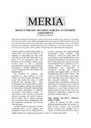 iraq's unready security forces: an interim assessment - GLORIA Center
