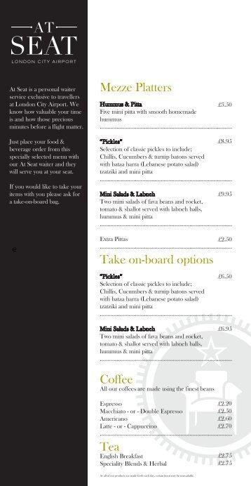 Mezze Platters Take on-board options Coffee Tea - London City ...