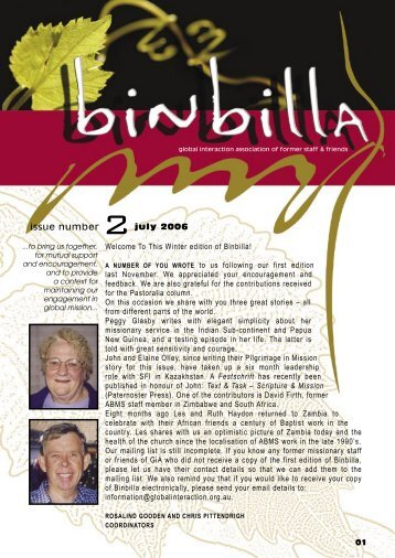 july 05 Welcome To This Winter edition of Binbilla! - Global Interaction