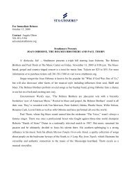 For Immediate Release October 13, 2009 Contact ... - Strathmore