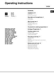 Operating Instructions - Hotpoint-Ariston