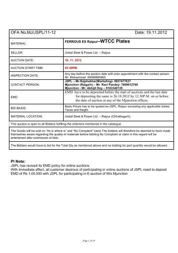 JSPL Ex Raipur- WTCC Plates - Login - Metaljunction