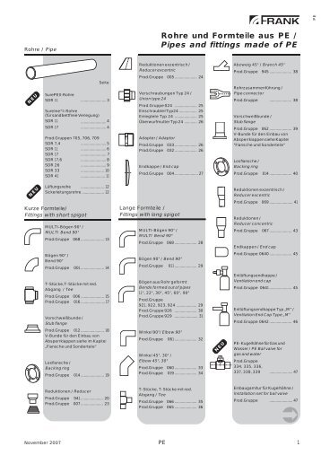 Rohre und Formteile aus PE / Pipes and fittings ... - Xorella-Frank AG