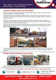 Radbournes Concrete Pumping Datasheet