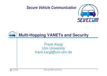 Multi-hopping VANETs and Security - Sevecom