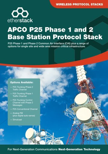 APCO P25 Phase 1 and 2 Base Station Protocol Stack - Etherstack