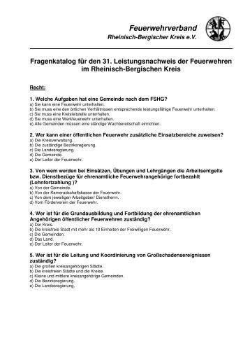 Fragen Leistungsnachweis 2013 - Feuerwehrverband Rheinisch ...
