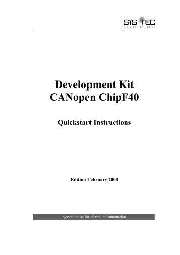 Kit Gmbh canopen starter kit quickstart manual sys tec electronic gmbh