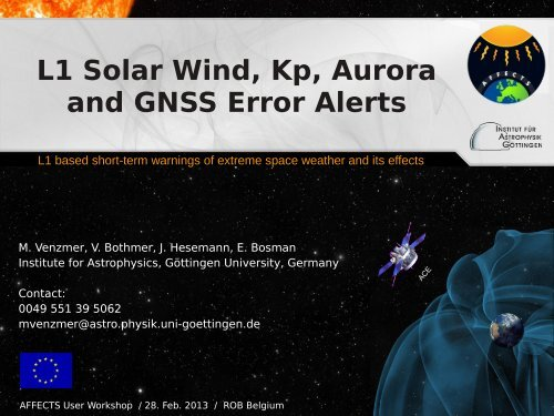 L1 Solar Wind, Kp, Aurora and GNSS Error Alerts - AFFECTS