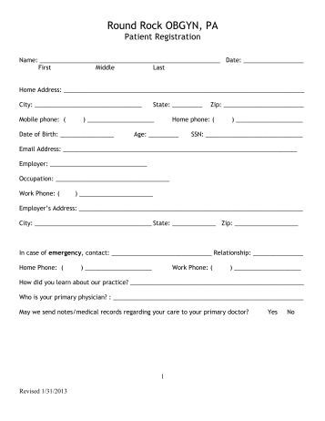 Patient Registration Form - Molly S. Judge, Dpm