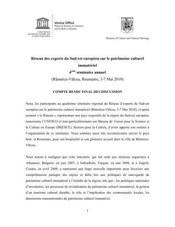 Réseau des experts du Sud-est européen sur le ... - Unesco