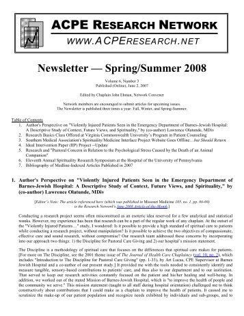 Newsletter — Spring/Summer 2008 - ACPE Research Network