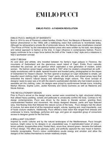 EMILIO PUCCI - A FASHION REVOLUTION EMILIO ... - Altagamma
