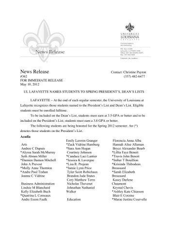 363Deans-Pres List - University of Louisiana at Lafayette