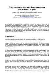 Programme et calendrier d'une assemblée régionale de citoyens