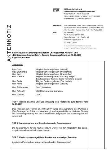 AKTENNOTIZ - Stadt Königswinter