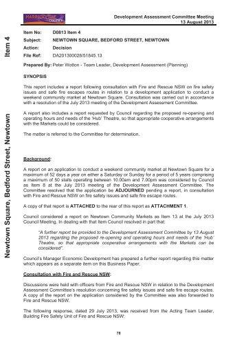 Development Assessment Committee Meeting Fire Report