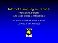 Internet Gambling in Canada: Prevalence, Patterns and Land-Based ...