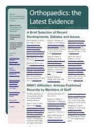 Orthopaedics: the Latest Evidence, Volume 2 Issue 1 (January 2012)