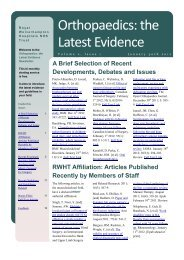 Orthopaedics: the Latest Evidence, Volume 2 Issue 1 (January 2012)