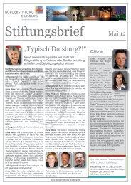 Stiftungsbrief vom Mai 2012 - Bürgerstiftung Duisburg
