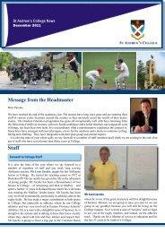 Headmaster's Newsletter - 8 December 2011 - St Andrew's College