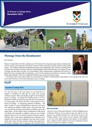 Headmaster's Newsletter - 8 December 2011 - St Andrew's College