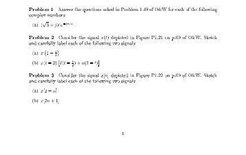 Problems to be turned in: Problem 1 Answer the questions asked in ...