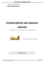 Conservatoires des espaces naturels - Institut de la Montagne