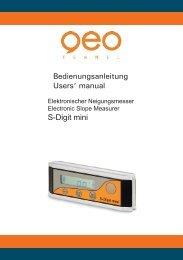 Bedienungsanleitung Users' manual S-Digit mini - geo-FENNEL ...