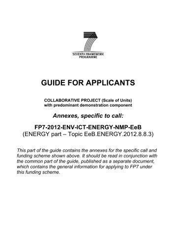 GUIDE FOR APPLICANTS - FFG 7. Rahmenprogramm