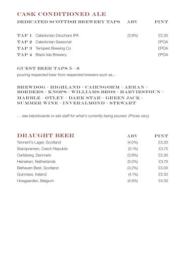 sample drinks menu edinburgh menus