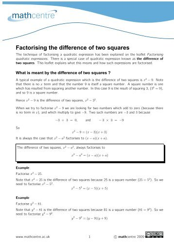 079 Factoring A Difference Between Two Squares
