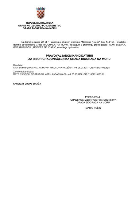 Kandidatura za izbor gradonačelnika Grada Biograda na Moru