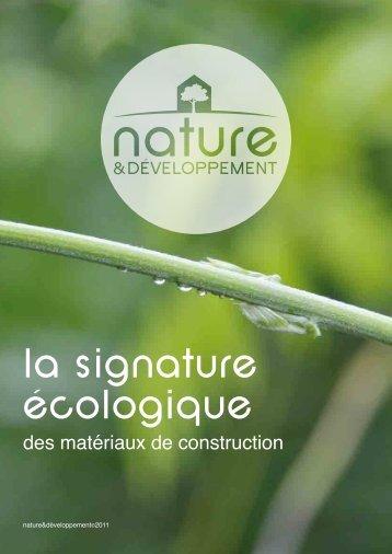 la signature écologique - Nature & développement