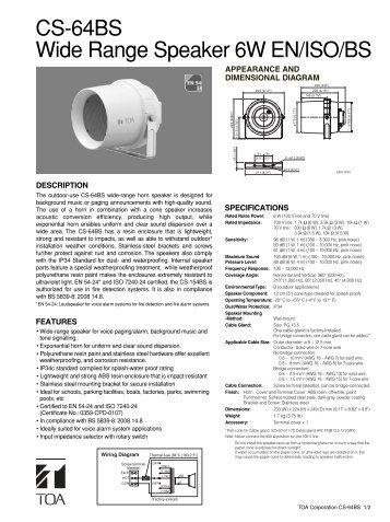 CS-64BS Wide Range Speaker 6W EN/ISO/BS - Eltek