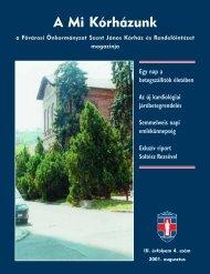 A Mi Kórházunk: 2001. augusztus ( III/4) - Szent János Kórház