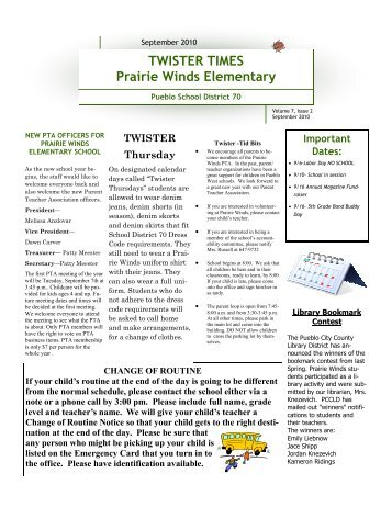 TWISTER TIMES Prairie Winds Elementary