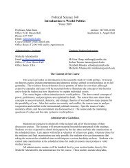 Political Science 160 Introduction to World Politics